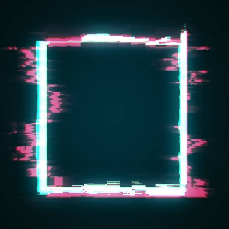 Abstract glowing glitch geomtric figure square. Web design concept. 3D Rendering Stock Photo
