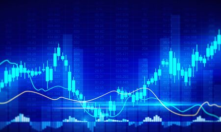Invest and candlestick concept. Creative glowing forex chart background. 3D Rendering