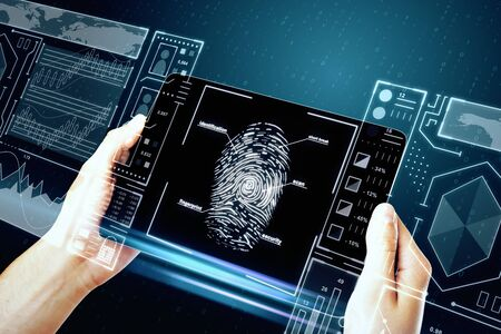 Hand holding smartphone with creative finger print scan hologram on blue background. ID and protection concept. Double exposure Stock Photo