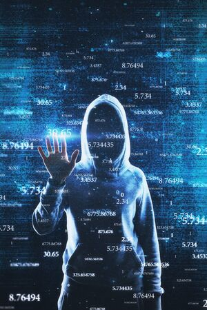 Hacker with abstract big data interface on blurry background. Software and hacking concept. Multiexposure