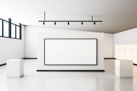 Luxury white concrete gallery interior with city view, empty poster and daylight. Mock up, 3D Rendering