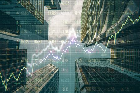 Forex chart on creative blurry downtown city background. Trade and sell concept. Double exposure