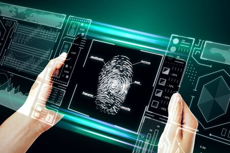 Hand holding smartphone with creative finger print scan hologram on blue background. ID and innovation concept. Double exposure