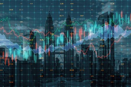 Forex chart on creative blurry Kuala Lumpur city background. Trade and market concept. Multiexposure 版權商用圖片