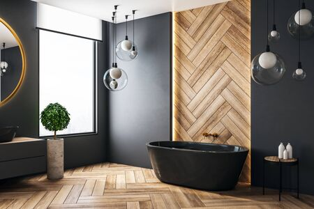 Luxury bathroom interior with city view and copy space on wall. 3D Rendering