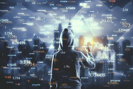 Hacker with abstract big data interface on blurry Kuala Lumpur city background. Software and malware concept. Double exposure