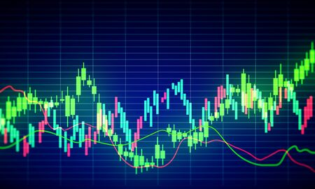 Invest and stats concept. Creative glowing forex chart background. 3D Rendering Stock Photo
