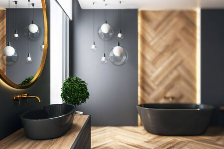 Luxury black bathroom interior with wooden wall, bath tub and lamps. 3D Rendering