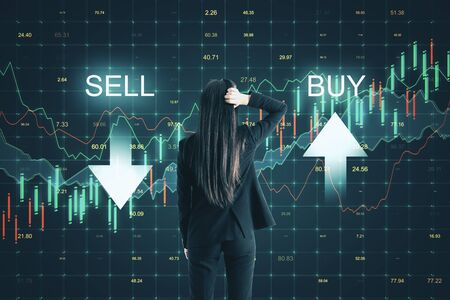 Sell and buy concept. Thoughtful young businesswoman making decision on abstract forex chart grid background