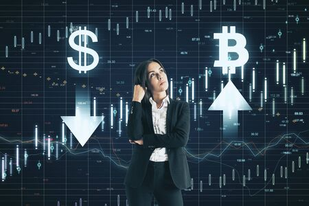 Stock market concept. Thoughtful young businesswoman making decision on abstract forex chart grid background
