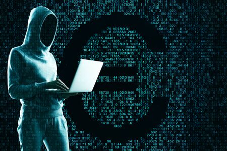 Hacking and cryptocurrency concept. Hacker using laptop with creative coding euro sign