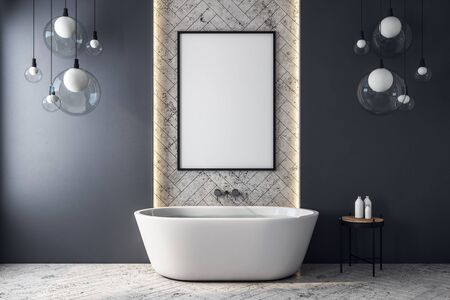 Modern bathroom interior with empty white banner, bath tub and decorative items. Mock up, 3D Rendering