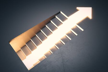 Stairs with glowing arrow on concrete background. Growth and development concept. 3D Rendering