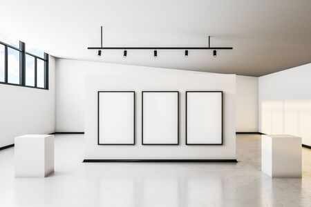 Modern white concrete gallery interior with city view, empty poster and daylight. Mock up, 3D Rendering