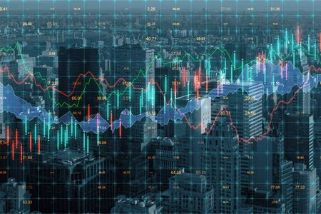 Forex chart on creative blurry downtown city background. Trade and finance concept. Double exposure