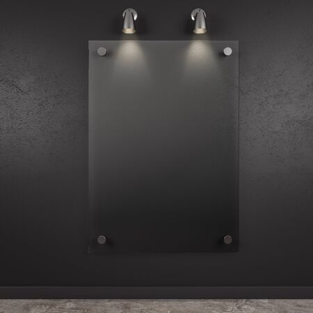 Empty glass frame in black room interior. Gallery concept. Mock up, 3D Rendering