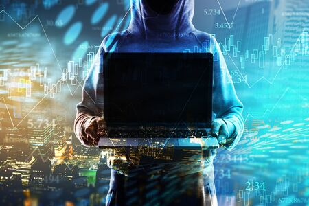 Hacker holding empty notebook on blurry digital city background. Mock up, Multiexposure