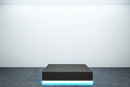 Empty illuminated pedestal in interior with copy space. Mock up, 3D Rendering