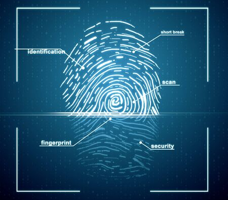 Creative finger print scan on blue backdrop. ID and access concept. 3D Rendering