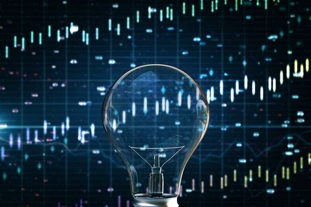 Creative blurry forex chart background with glass light bulb. Innovation, idea and finance concept. 3D Rendering
