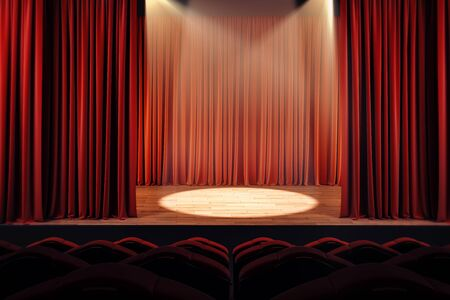 Open red theater curtains with spotlight. Performance concept. 3D Rendering 写真素材