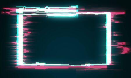 Creative glitch banner on dark background. Mock up, 3D Rendering 写真素材