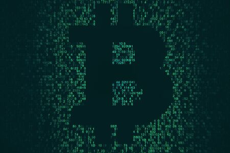 Creative coding bitcoin sign on dark background. Cryptocurrency and money concept. 3D Rendering 写真素材