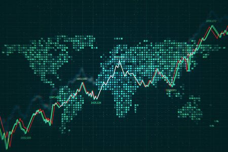 Trade and market concept. Creative forex chart background. 3D Rendering 写真素材