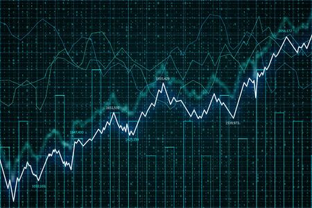 Trade and economy concept. Creative forex chart background. 3D Rendering