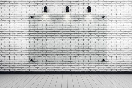 Blank glass banner in white brick room interior. Gallery concept. Mock up, 3D Rendering