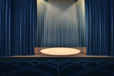 Open blue theater curtains with spotlight. Performance concept. 3D Rendering 写真素材