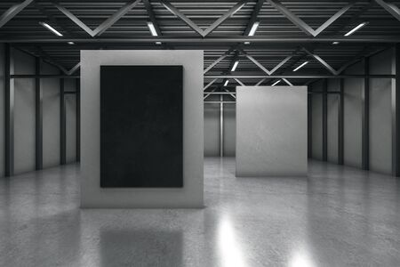 Concrete warehouse exhibition hall interior with empty black poster. Mock up, 3D Rendering