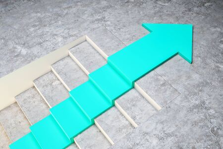 Stairs with blue arrow on concrete background. Growth and development concept. 3D Rendering