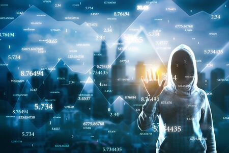 Hacker with abstract big data interface on blurry Kuala Lumpur city background. Software and hacking concept. Multiexposure Stock Photo