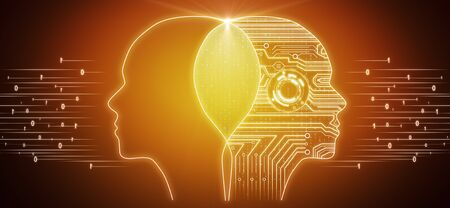 Creative circuit head outline on orange background. AI and software concept. 3D Rendering