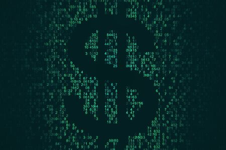 Dark coding dollar sign on dark background. Cryptocurrency and money concept. 3D Rendering 写真素材