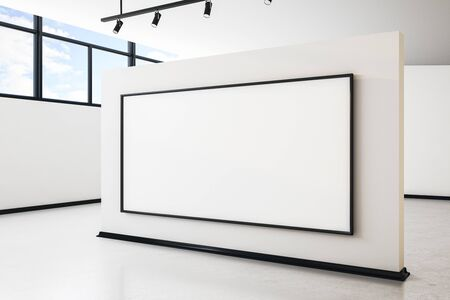 Bright white concrete gallery interior with city view, empty banner and daylight. Mock up, 3D Rendering