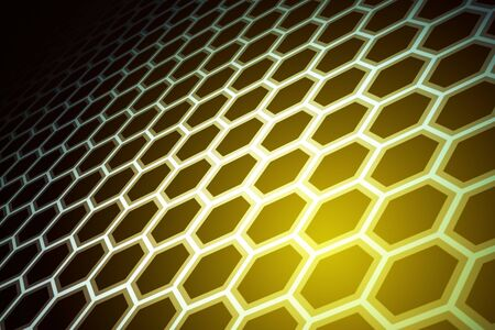 Creative glowing yellow hexagonal background. Design and technology concept. 3D Rendering