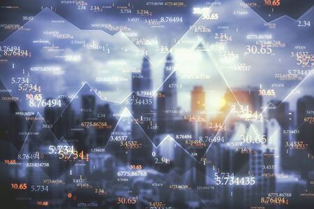 Creative big data numbers on Kuala Lumpur city background. Technology and science concept. Double exposure