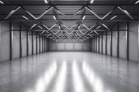 Abstract warehouse interior with reflections on concrete floor. Storage concept. 3D Rendering