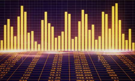 Invest and growth concept. Creative glowing forex chart background. 3D Rendering Imagens