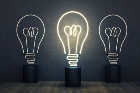 Glowing neon light bulb on concrete wall background. Idea and innovation concept. 3D Rendering 写真素材