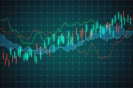 Trade and invest concept. Creative forex chart background. 3D Rendering