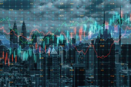 Forex chart on creative blurry Kuala Lumpur city background. Trade and finance concept. Double exposure