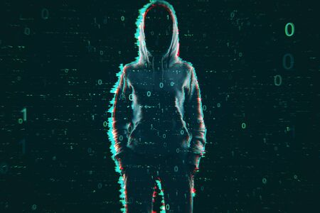 Hack and computing concept. Hacker in hoodie with creative binary code. Double exposure Stock Photo