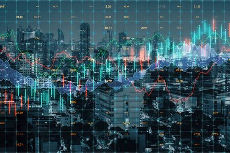 Forex chart on creative blurry downtown city background. Stats and finance concept. Multiexposure