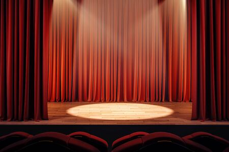 Open red theater curtains with spot light. Performance concept. 3D Rendering