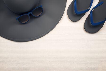 Top view of black hat, sunglasses and flip flops on wooden desktop. Vacation concept. 3D Rendering 写真素材