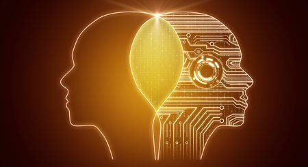 Creative circuit head outline on orange background. AI and futuristic concept. 3D Rendering