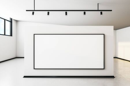 Modern white concrete gallery interior with city view, empty billboard and daylight. Mock up, 3D Rendering